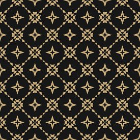 Golden Floral Grid Seamless Pattern. Abstract Geometric Texture. Simple Vector Black And Gold Orname
