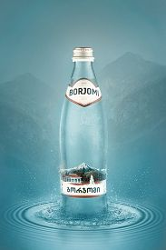 Cold Mineral Water Bottle Borjomi With Drops. Borjomi Is The Most Popular Mineral Water. Produced At