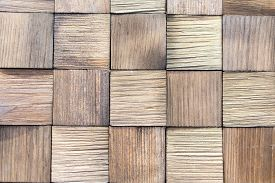 Background Of Wooden Boards. Wooden Background - Square Format. Pieces Of Teak Wood Stump Background