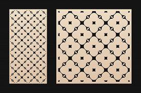 Laser Cut Pattern. Vector Template With Geometric Ornament, Floral Grid, Mesh, Lattice. Decorative S