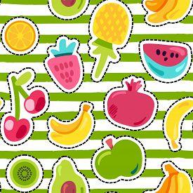 Fresh Summer Juicy Fruit Painted Seamless Pattern