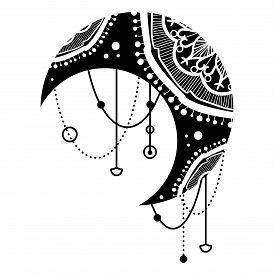 Ethnic Black Moon Mandala Oriental Pattern Design