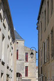 Houses On A Street In Fontenay-le-comte In France
