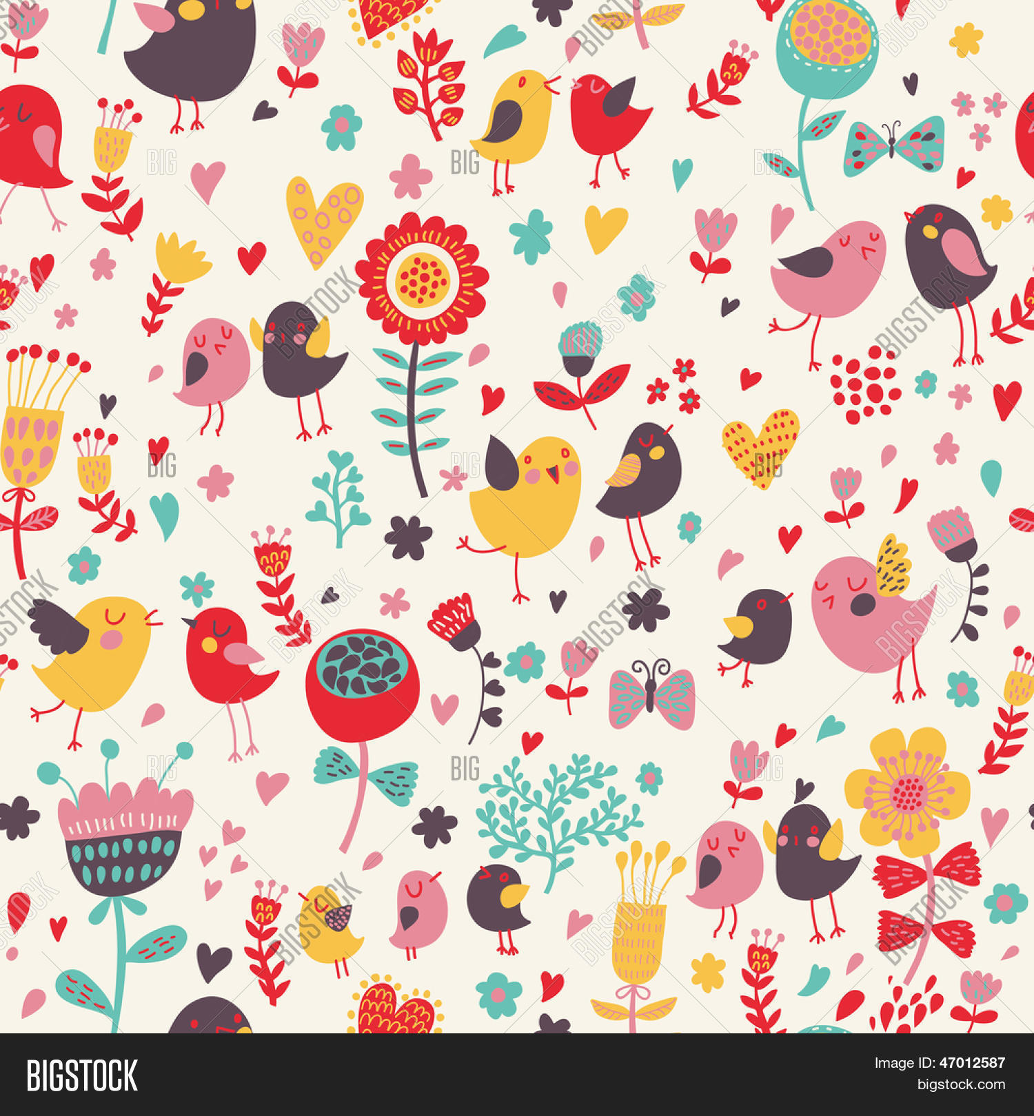 Romantic Floral Seamless Pattern With Cute Small Birds In The Garden Love