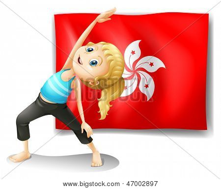 Illustration of the flag of Hongkong at the back of a young girl on a white background
