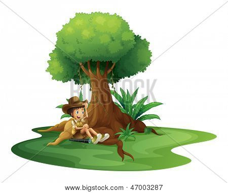 Illustration of a boy resting under the tree on a white background