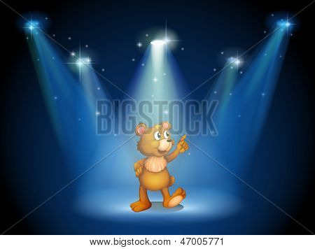 Illustration of a stage with a huggable bear