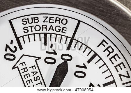 Refrigerator thermometer sub zero area macro detail.