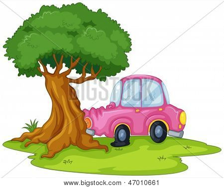 Illustration of a pink car bumping the giant tree on a white background