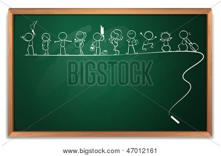 Illustration of a chalkboard with a drawing of kids playing different sports on a white background