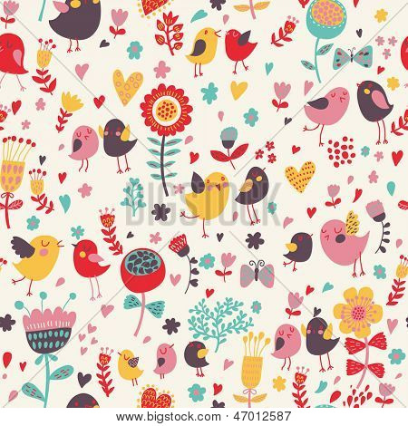 Romantic floral seamless pattern with cute small birds in the garden. Birds in love with retro flowers and butterflies. Vector background can be used for wallpapers, pattern fills, textile
