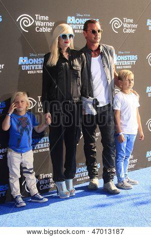 LOS ANGELES - JUN 17: Zuma Rossdale, Gwen Stefani, Kingston Rossdale, Gavin Rossdale at The World Premiere for 'Monsters University' at the El Capitan Theater, June 17, 2013 in Los Angeles, California