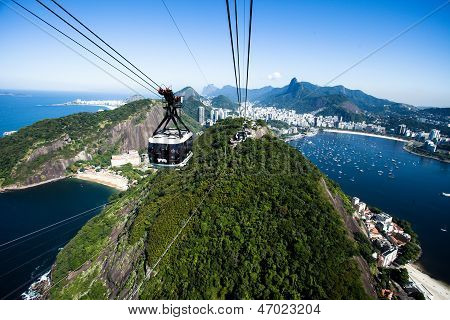 The cable car to Sugar Loaf in Rio de Janeiro poster
