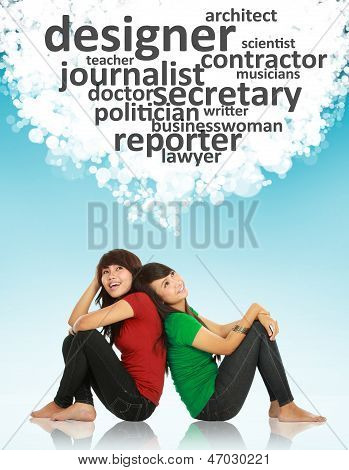 Two Young Asian Female Thinking Of Profession