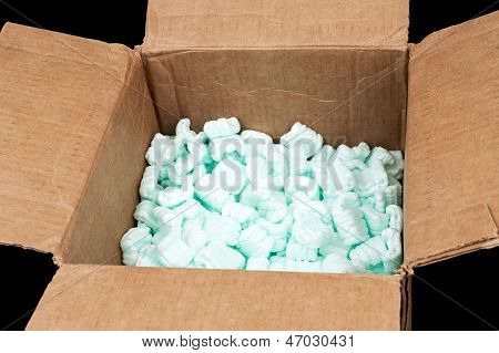 Cardboard Box With Shipping Peanuts