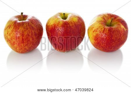 Sweet Ripe Red Apples Isolated On White Background