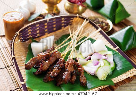 Beef satay, roasted meat skewer Malay food. Traditional Indonesia food. Hot and spicy Indonesian dish, Asian cuisine.