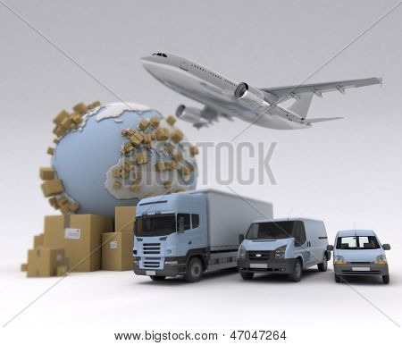 The Earth, lots of boxes and a transportation fleet made of vans, trucks and an airplane