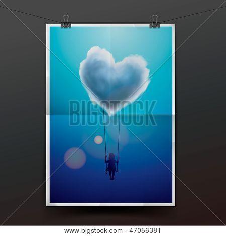 Little girl on a swing under heart shape cloud