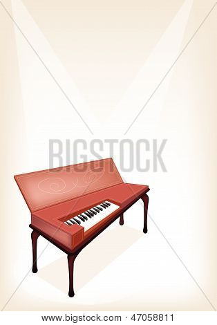 A Retro Clavichord On Brown Stage Background