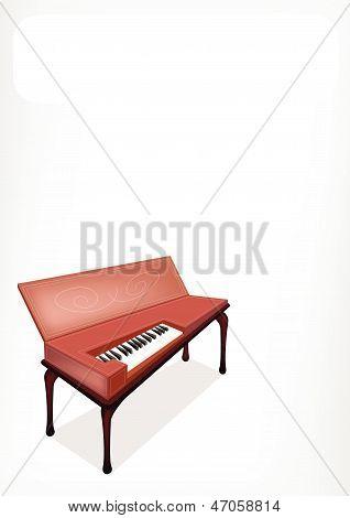 A Retro Clavichord With A White Banner