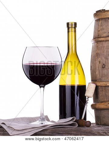 Barrel With Corkscrew And Wine Glass