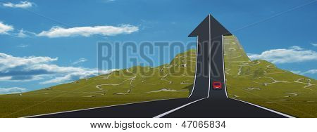 Concept or conceptual 3D red car on arrow road pointing up,upward over a mountain to sky background banner
