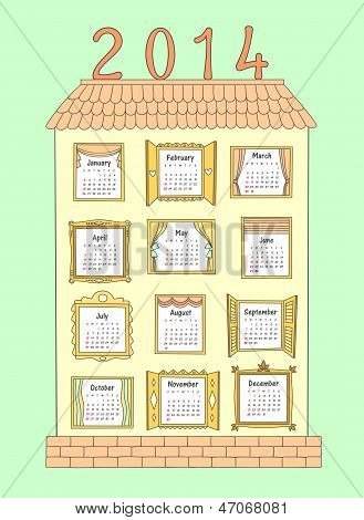 Calendar For The Year 2014. A Painted House With Windows.