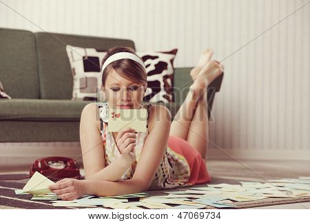 Beautiful Woman With Love Letter