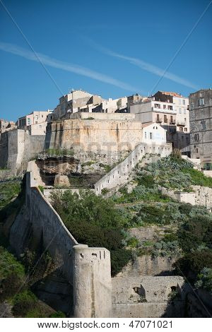 Rampart Of The Old Town Of Bonifacio, Corsica France