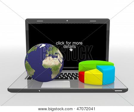 World globe, map and 3d pie chart on a laptop