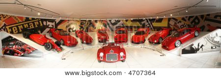Maranello, Italy - 09 July, 2008: Panorama Of Ferrari Sport Cars In Museum Ferrari, Maranello, Italy