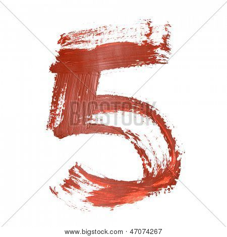 Five - Red numbers over white background
