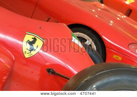 Maranello, Italy - 09 July, 2008: Logo Of Ferrari On Sport Car Formula 1 In Museum Ferrari, Maranell