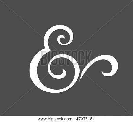 Custom ampersand for wedding invitation. Vector illustration