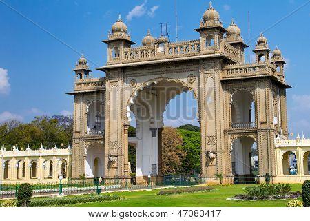 The Eastern gate of the Mysore Palace. Karnataka, India