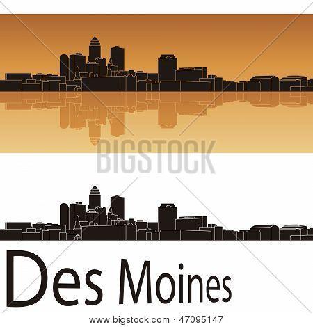 Des Moines Skyline In Orange Background