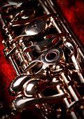 Oboe in a red velvet oboe case poster