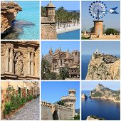Collage of landmarks of Mallorca Island, Spain poster