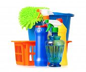 Plastic orange basket with cleaning supplies, isolated on white background poster
