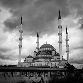 Ankara, Turkey - Kocatepe mosque in a dramatic sky - Black and White toned poster