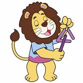 Cartoon lion playing a triangle. vector illustration. poster
