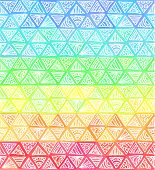 Ornate hand-drawn rainbow triangles vector seamless pattern poster