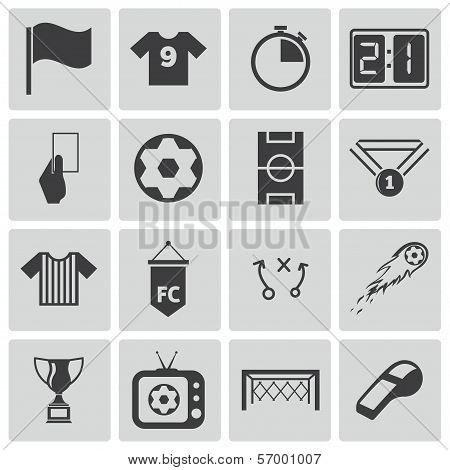 Vector black  soccer  icons set