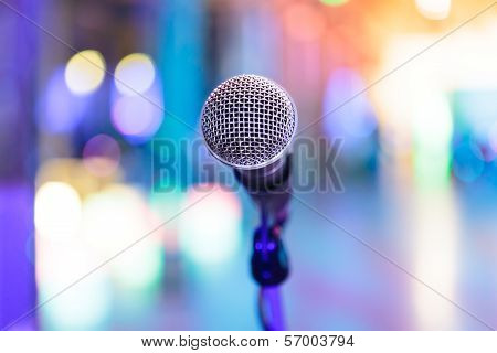 Detail Of Microphone With Blurred Party Lights