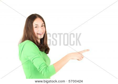Young Teenage Girl Pointing Finger