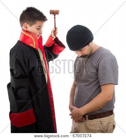 Child judge punishing criminal man with judge mallet isolated on white background