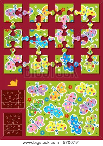 Make your own jigsaw puzzle kit - butterflies - image, template, pieces