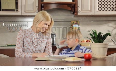 Mum and the son at breakfast
