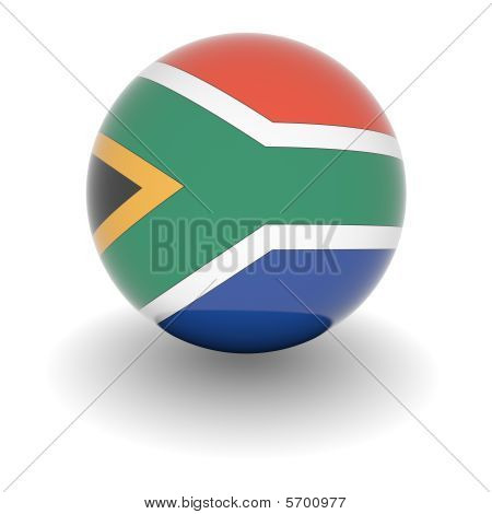 High Resolution Ball With Flag Of South Africa